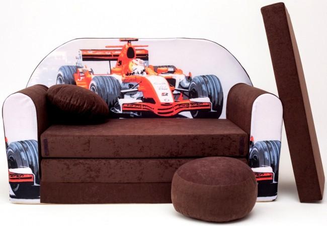 Anix Babaáruház Gyermek kinyitható kanapé puffal és párnával többféle színben