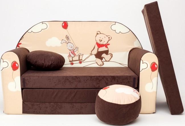 Anix Babaáruház Plüss kanapé nyitható, barna